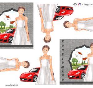 Konfirmations pige med rød sportsvogn i baggrunden, HM design