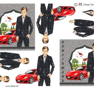 Konfirmations dreng med rød sportsvogn i baggrunden, HM design