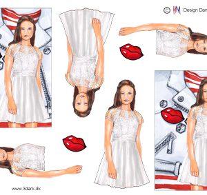 Konfirmations pige med hvid læderjakke som baggrund, HM design