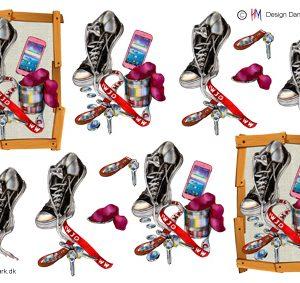 Træramme med sko, mobil og nøglekæde til piger, HM design