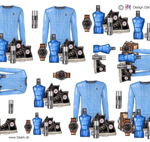 Drengetrøje, parfume, sko og ur i klar blå farve, HM design