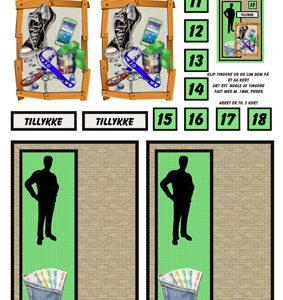 Skyggedreng med baglomme med penge og træramme, Quickies card